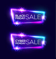 black friday sale cyber monday neon background vector image