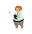 cartoon nerd character standing with paper tablet vector image
