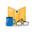 interesting book with glasses and coffee cup vector image
