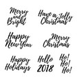 merry christmas card with calligraphy text vector image
