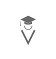 Silhouette graduate icon student education logo vector image