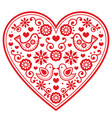 folk heart pattern with flowers and birds - vector image
