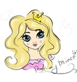 Portrait of Young Princess with Curly Hair vector image