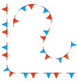 Set curved ropes with colored flags vector image