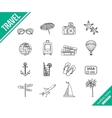 Travel outline icons set vector image