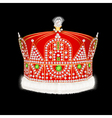 Royal gold crown with ornament and pearls vector image