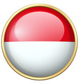 indonesia flag on round badge vector image vector image
