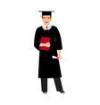 University male student graduate icon vector image