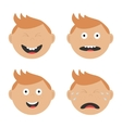 Baby boy face set with different emotions Crying vector image