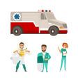 flat ambulance car super doctor surgeon vector image
