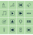 set of 16 audio icons includes extract device vector image