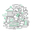 Businesswoman managing money - line design vector image