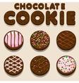 Cartoon Chocolate cookie biskvit food vector image
