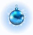Christmas blue ball with sparkle vector image
