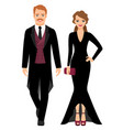 evening fashion couple in black clothes vector image