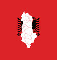 map and flag of albania vector image