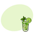 tall glass full of freshly squeezed lime juice vector image