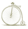 Woodcut Vintage Bicycle Drawing vector image