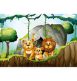 Lion family living in the jungle vector image vector image