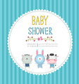 Baby shower invitation card template on blue vector image