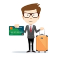 Business man holding a card and baggage vector image