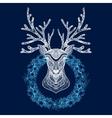 Christmas Wreath With Deer Head vector image
