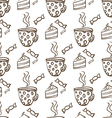 Seamless pattern with cups of tea and cakes vector image