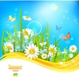 Sunny bright background with blue sky vector image