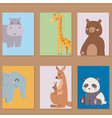 cute zoo cartoon animals cards funny wildlife vector image