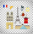 france flag and paris landmarks icons vector image