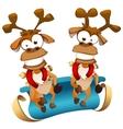 Christmas deers with sledge vector image