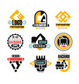 excavator logo design set backhoe service vector image