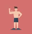 gym fitness muscular cartoon man shirtless flat vector image