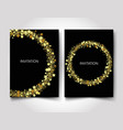 invitation template gold glitter with gold stars vector image