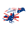 Kangaroo and australia flag with firework vector image