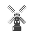 Mill old fashioned windmill Black icon logo vector image