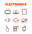 set of devices and electronics icons flat minimal vector image