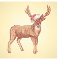 Sketch cute deer in vintage style vector image