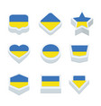 ukraine flags icons and button set nine styles vector image