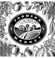 Vintage Farmers Market Label Black And White vector image