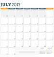 Calendar Planner Template for July 2017 Week vector image