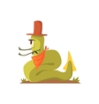 Green Giant Snake Monster In Cowboy Hat And vector image
