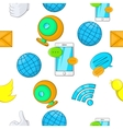Communication over internet pattern cartoon style vector image