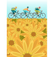 Sportsmans is riding bike on spring field vector image