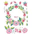 Wild rose linocut set vector image