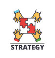 puzzle pieces hands putting together strategy vector image