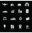 Travel icons white on black vector image
