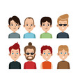 cartoon portrait young men group differents vector image