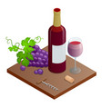 bottle of red wine bunches of wine grapes and vector image