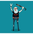 Forever young Funny old rock fan Active senior vector image